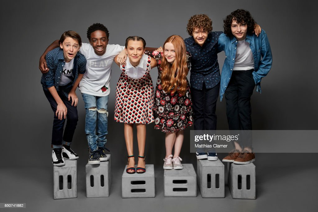 Actors Noah Schnapp, Caleb McLaughlin, Millie Bobby Brown, Sadie Sink, Gaten Matarazzo and Finn Wolfhard from Stranger Things are photographed for Entertainment Weekly Magazine on July 22, 2017 at Comic Con in San Diego, California. PUBLISHED