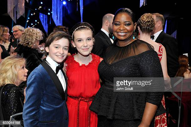 Actors Noah Schnapp Millie Bobby Brown and Octavia Spencer attend The 23rd Annual Screen Actors Guild Awards Cocktail Reception at The Shrine...