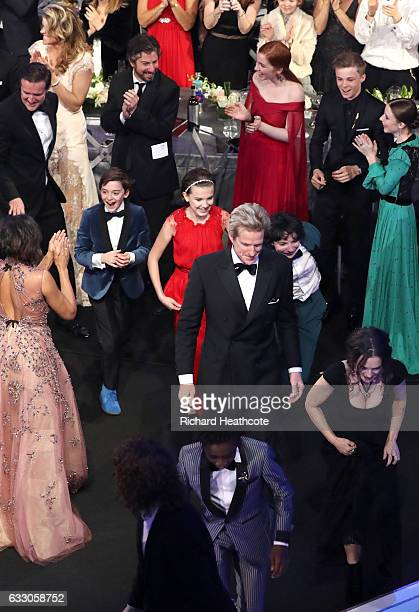 Actors Noah Schnapp Millie Bobby Brown Matthew Modine Finn Wolfhard Caleb McLaughlin and Winona Ryder during The 23rd Annual Screen Actors Guild...