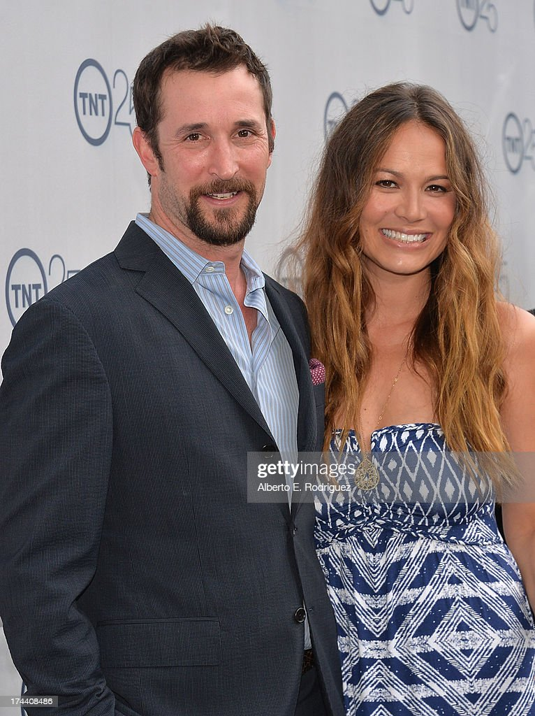 Actors <a gi-track='captionPersonalityLinkClicked' href=/galleries/search?phrase=Noah+Wyle&family=editorial&specificpeople=217263 ng-click='$event.stopPropagation()'>Noah Wyle</a> and <a gi-track='captionPersonalityLinkClicked' href=/galleries/search?phrase=Moon+Bloodgood&family=editorial&specificpeople=742638 ng-click='$event.stopPropagation()'>Moon Bloodgood</a> arrive to TNT's 25th Anniversary Party at The Beverly Hilton Hotel on July 24, 2013 in Beverly Hills, California.