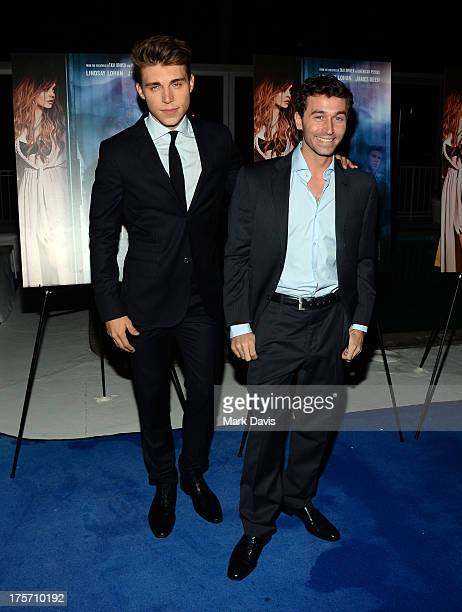 Actors Nolan Gerard Funk and James Deen arrive at the premiere of IFC Film's 'The Canyons' at The Standard Hotel on August 6 2013 in Los Angeles...