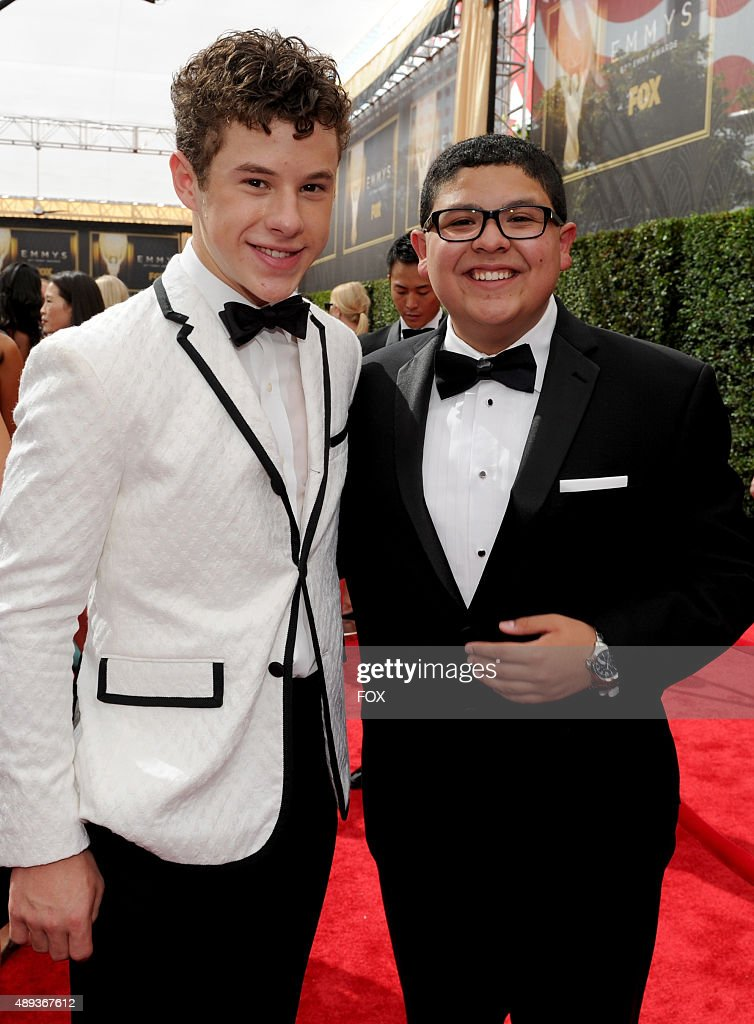 Actors Nolan Gould and Rico Rodriguez attends the 67th Annual Primetime Emmy Awards at Microsoft Theater on September 20 2015 in Los Angeles...