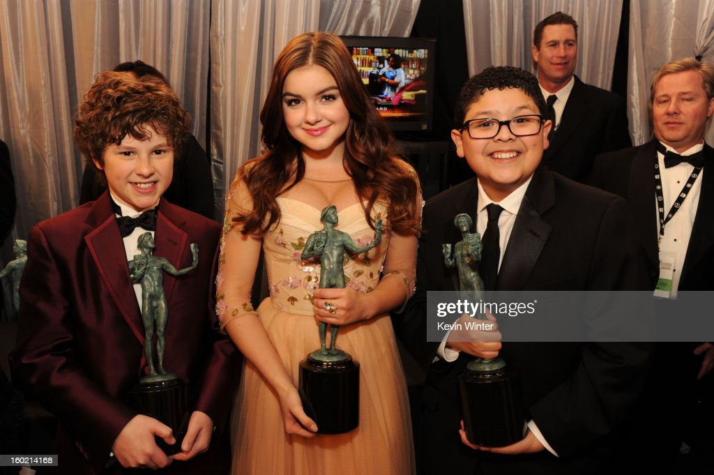 Actors Nolan Gould, Ariel Winter and Rico Rodriguez attend the 19th Annual Screen Actors Guild Awards at The Shrine Auditorium on January 27, 2013 in Los Angeles, California. (Photo by Kevin Winter/WireImage) 23116_017_1539.JPG