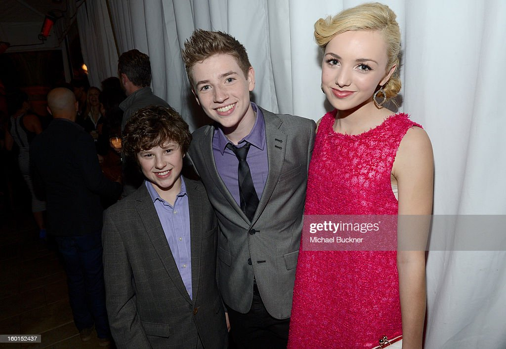 Actors <a gi-track='captionPersonalityLinkClicked' href=/galleries/search?phrase=Nolan+Gould&family=editorial&specificpeople=5691358 ng-click='$event.stopPropagation()'>Nolan Gould</a>, Jackson Pace attend the Entertainment Weekly Pre-SAG Party hosted by Essie and Audi held at Chateau Marmont on January 26, 2013 in Los Angeles, California.