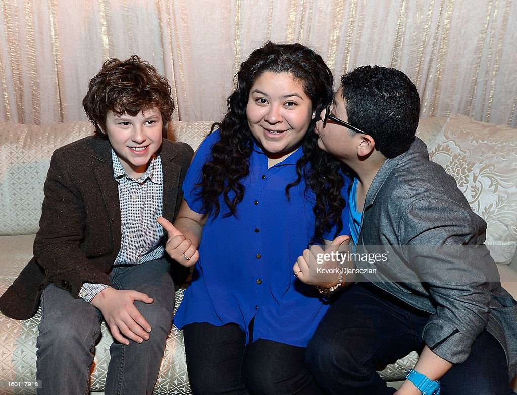 Actors Nolan Gould (L) Raini Rodriguez (C) and her brother Rico Rodriguez in the green room during the 19th Annual Screen Actors Guild Awards red carpet roll out and presenter rehearsals at The Shrine Auditorium on January 26, 2013 in Los Angeles, California.