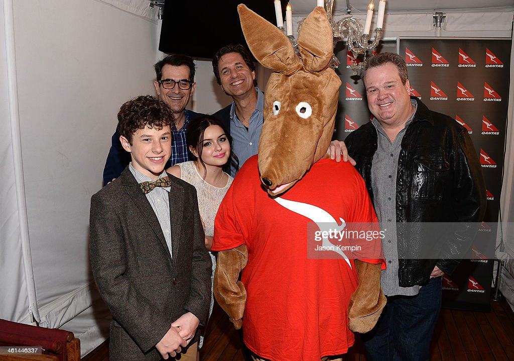 Actors Nolan Gould, Ty Burrell, Ariel Winter, Steve Levitan, Matilda the Kangaroo and actor Eric Stonestreet attend the Qantas Spirit Of Australia Party on January 8, 2014 in Beverly Hills, California.