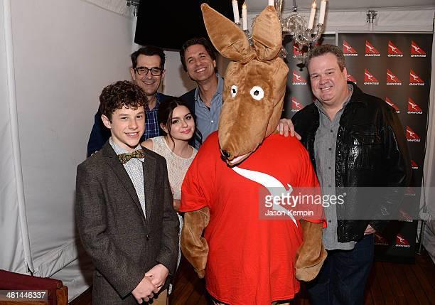 Actors Nolan Gould Ty Burrell Ariel Winter Steve Levitan Matilda the Kangaroo and actor Eric Stonestreet attend the Qantas Spirit Of Australia Party...