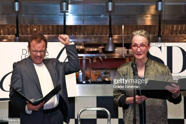 Actors Norbert Leo Butz and Kathleen Chalfant announce the 77th annual Drama Desk Awards Nominess announcement at SD26 on April 25 2011 in New York...