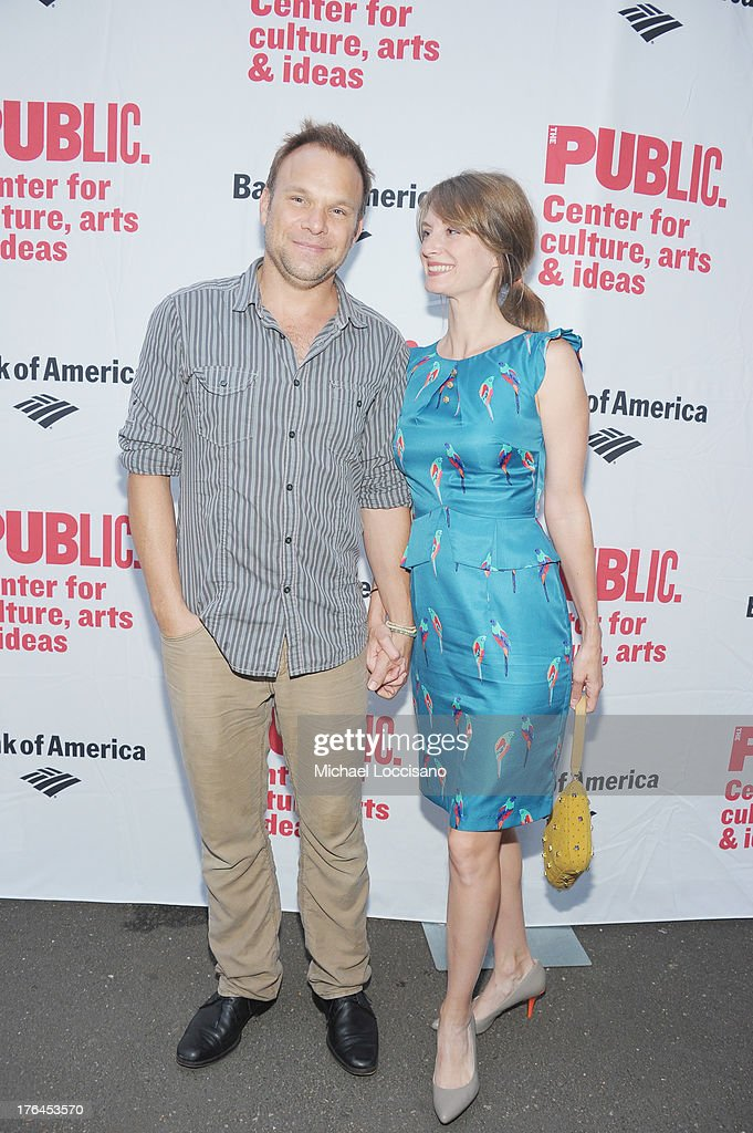 Actors Norbert Leo Butz and Michelle Federer attend The Public Theater's 'Love's Labour's Lost' Opening Nght at Delacorte Theater on August 12, 2013 in New York City.