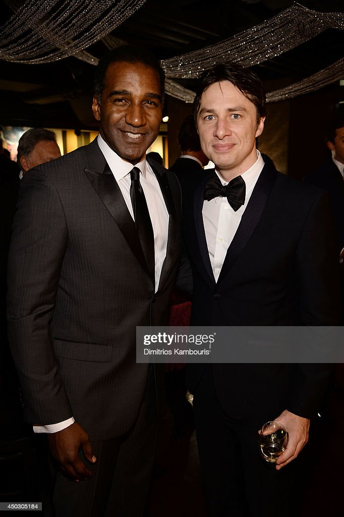 Actors <a gi-track='captionPersonalityLinkClicked' href=/galleries/search?phrase=Norm+Lewis&family=editorial&specificpeople=2275893 ng-click='$event.stopPropagation()'>Norm Lewis</a> and <a gi-track='captionPersonalityLinkClicked' href=/galleries/search?phrase=Zach+Braff&family=editorial&specificpeople=203253 ng-click='$event.stopPropagation()'>Zach Braff</a> attend the 68th Annual Tony Awards at Radio City Music Hall on June 8, 2014 in New York City.
