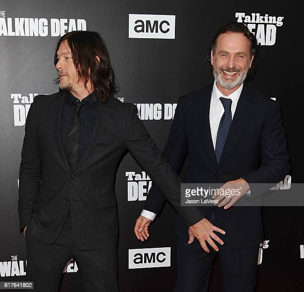Actors Norman Reedus and Andrew Lincoln attend the live 90minute special edition of 'Talking Dead' at Hollywood Forever on October 23 2016 in...