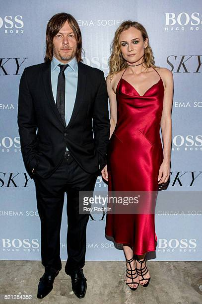 Actors Norman Reedus and Diane Kruger attends the premiere of IFC Films' 'Sky' hosted by The Cinema Society and Hugo Boss at Metrograph on April 14...