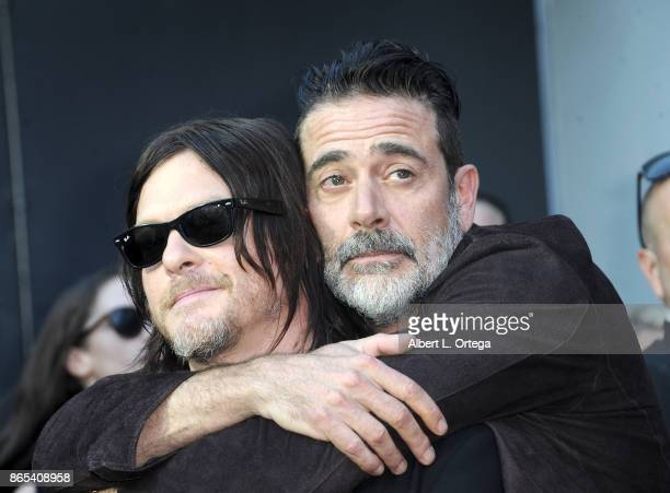 Actors Norman Reedus and Jeffrey Dean Morgan arrive for the AMC Celebration of The 100th Episode Of 'The Walking Dead' held at The Greek Theatre on...