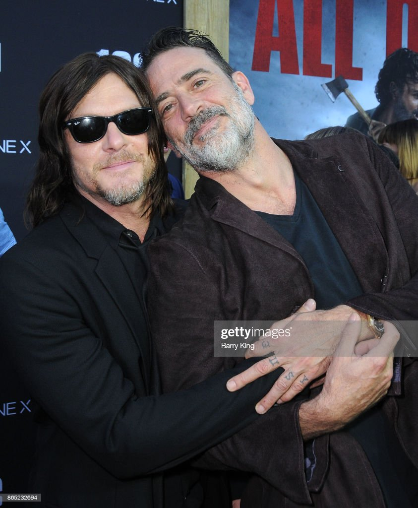 Actors Norman Reedus and Jeffrey Dean Morgan attend AMC Celebrates The 100th Episode of 'The Walking Dead' at The Greek Theatre on October 22, 2017 in Los Angeles, California.