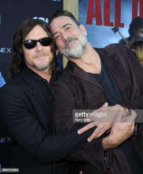 Actors Norman Reedus and Jeffrey Dean Morgan attend AMC Celebrates The 100th Episode of 'The Walking Dead' at The Greek Theatre on October 22 2017 in...