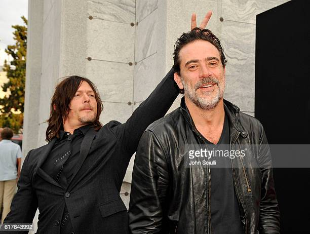 Actors Norman Reedus and Jeffrey Dean Morgan attend AMC presents 'Talking Dead Live' for the premiere of 'The Walking Dead' at Hollywood Forever on...