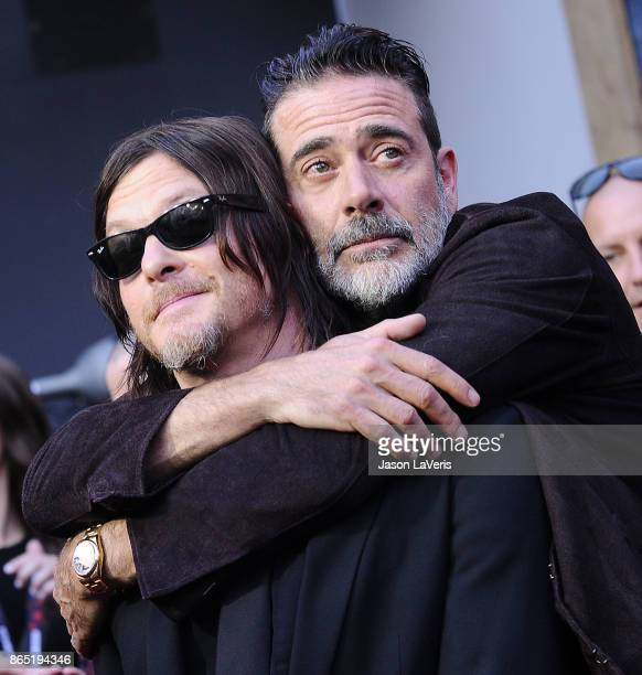 Actors Norman Reedus and Jeffrey Dean Morgan attend the 100th episode celebration off 'The Walking Dead' at The Greek Theatre on October 22 2017 in...