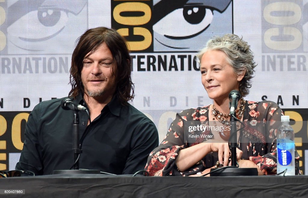Actors Norman Reedus (L) and Melissa McBride speak onstage at Comic-Con International 2017 AMC's 'Fear The Walking Dead' Panel at San Diego Convention Center on July 21, 2017 in San Diego, California.