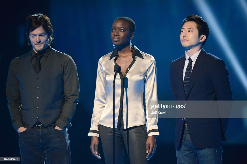 Actors <a gi-track='captionPersonalityLinkClicked' href=/galleries/search?phrase=Norman+Reedus&family=editorial&specificpeople=747258 ng-click='$event.stopPropagation()'>Norman Reedus</a>, Danai Gurira and Steven Yeun speak onstage during Spike TV's 10th annual Video Game Awards at Sony Pictures Studios on December 7, 2012 in Culver City, California.