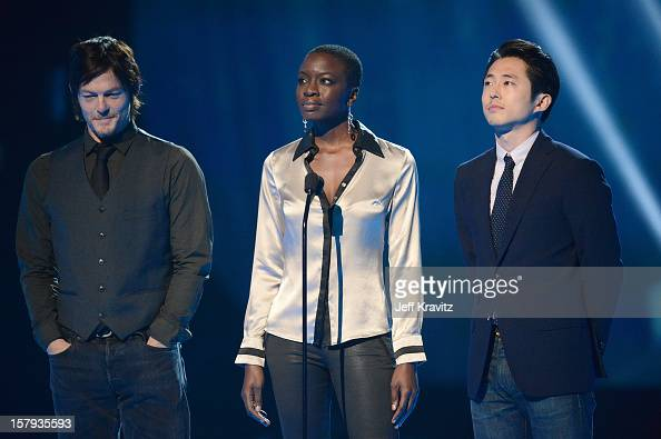 Actors Norman Reedus Danai Gurira and Steven Yeun speak onstage during Spike TV's 10th annual Video Game Awards at Sony Pictures Studios on December...