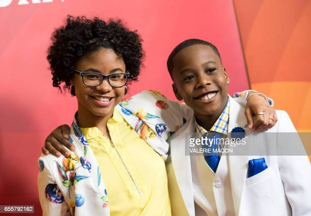 Actors Notlim Taylor and Amir O'Neil of 'Marlon' arrive at the NBC Universal Summer Press Day at the Beverly Hilton on March 20 Beverly Hills...
