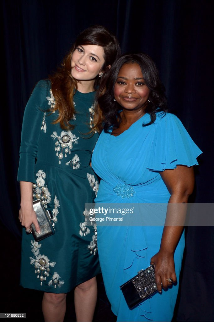 Actors <a gi-track='captionPersonalityLinkClicked' href=/galleries/search?phrase=Octavia+Spencer&family=editorial&specificpeople=2538115 ng-click='$event.stopPropagation()'>Octavia Spencer</a> (R) and <a gi-track='captionPersonalityLinkClicked' href=/galleries/search?phrase=Mary+Elizabeth+Winstead&family=editorial&specificpeople=782914 ng-click='$event.stopPropagation()'>Mary Elizabeth Winstead</a> attend the 'Smashed' Premiere during 2012 Toronto International Film Festival at Ryerson Theatre on September 12, 2012 in Toronto, Canada.