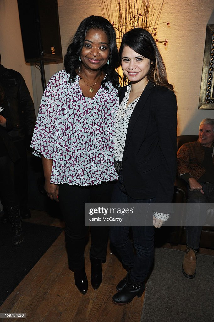 Actors <a gi-track='captionPersonalityLinkClicked' href=/galleries/search?phrase=Octavia+Spencer&family=editorial&specificpeople=2538115 ng-click='$event.stopPropagation()'>Octavia Spencer</a> and <a gi-track='captionPersonalityLinkClicked' href=/galleries/search?phrase=Melonie+Diaz&family=editorial&specificpeople=3323742 ng-click='$event.stopPropagation()'>Melonie Diaz</a> attend the Grey Goose Blue Door 'Fruitvale' Dinner on January 19, 2013 in Park City, Utah.