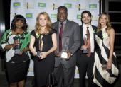 Actors Octavia Spencer Lea Thompson Ernie Hudson Jason Ritter and Katie Cassidy pose for a photo with the 2014 PRISM Award for Ensemble Performance...