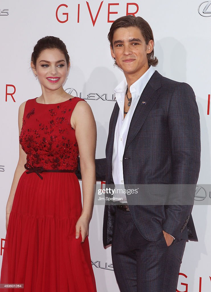 Actors Odeya Rush and Brenton Thwaites attend 'The Giver' premiere at Ziegfeld Theater on August 11 2014 in New York City
