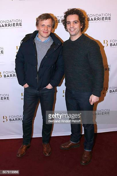 Actors of 'Catherine et Liliane' tv show Alex Lutz and Bruno Sanches attend the Theater Price 2015 of Foundation Diane Lucien Barriere given to the...