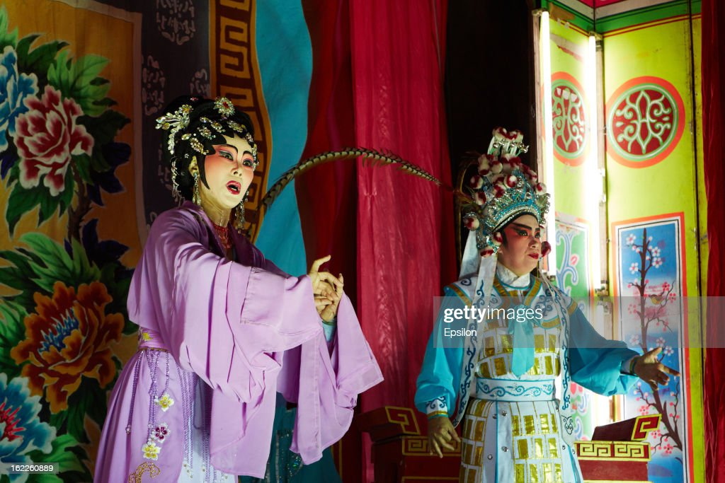 AYUTTHAYA, THAILAND - FEBRUARY 11. Actors of Chinese Opera perform on stage on February 11, 2013 in Ayutthaya, Thailand.