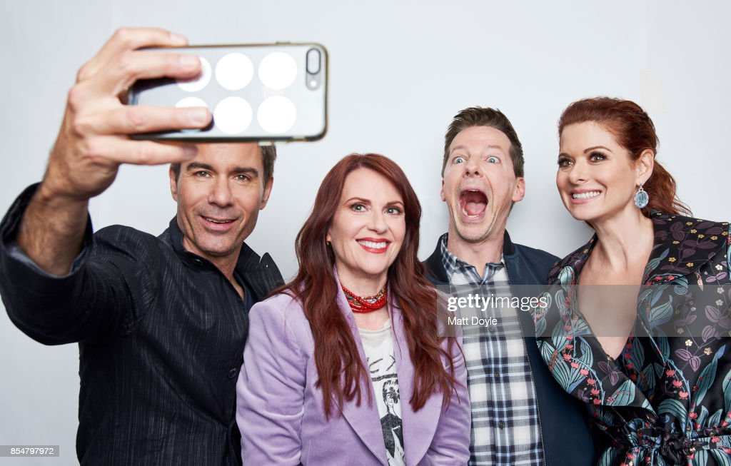 Actors of NBC's 'Will & Grace' Erik McCormack, Megan Mullally, Debra Messing and Sean Hayes pose for a portrait at the Tribeca TV festival at Cinepolis Chelsea on September 23, 2017.
