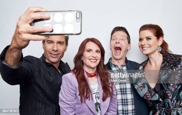Actors of NBC's 'Will Grace' Erik McCormack Megan Mullally Debra Messing and Sean Hayes pose for a portrait at the Tribeca TV festival at Cinepolis...