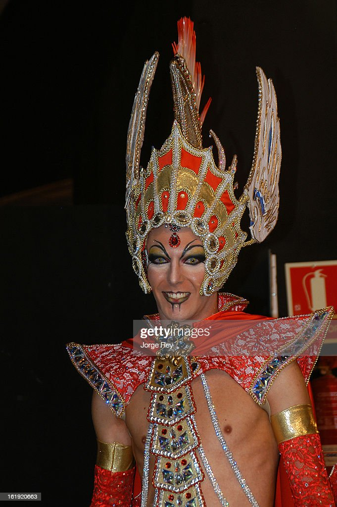 Actors of the Drag Queen Gala prepare to go on stage during the Carnival February 14, 2013 in Las Palmas de Gran Canaria, Spain.