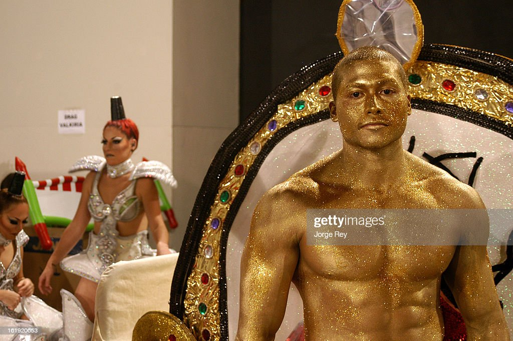 Actors of the Drag Queen Gala prepare to go on stage during the Carnival on February 14, 2013 in Las Palmas de Gran Canaria, Spain.