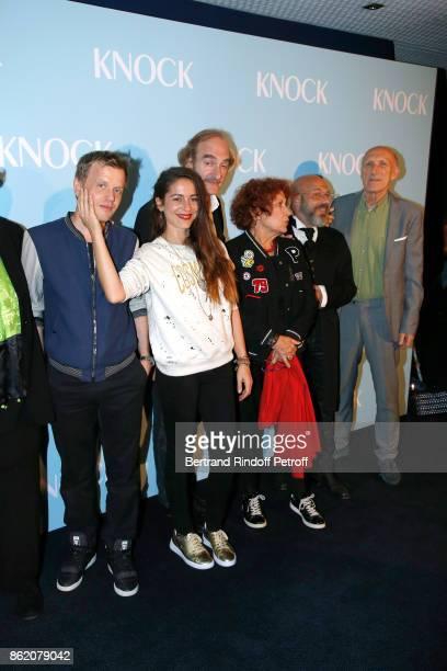 Actors of the movie Alex Lutz Audrey Dana Michel Vuillermoz Andrea Ferreol Christian Hecq and Rufus attend the 'Knock' Paris Premiere at Cinema UGC...