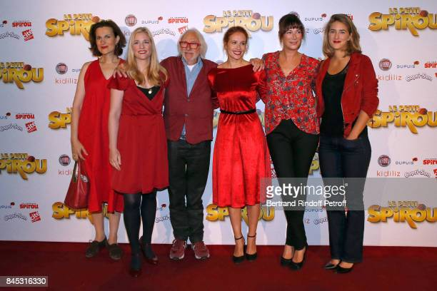 Actors of the movie Armelle Lesniak Natacha Regnier Pierre Richard Gwendolyn Gourvenec Virginie Hocq and Juliette Aver attend the 'Le Petit Spirou'...