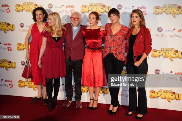 Actors of the movie Armelle Lesniak Natacha Regnier Pierre Richard Gwendolyn Gourvenec Virginie Hocq and Juliette Aver attend the 'Le Petit Spirou'...