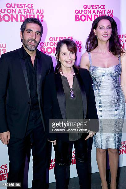 Actors of the movie Ary Abittan Chantal Lauby and Frederique Bel attend the 'Qu'est ce qu'on a fait au Bon Dieu' Success Party at Le Showcase Pont...