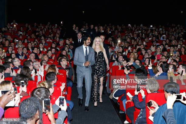 Actors of the movie Dev Patel and Nicole Kidman attend the 'Lion' Paris premiere at Cinema Gaumont Opera on February 10 2017 in Paris France