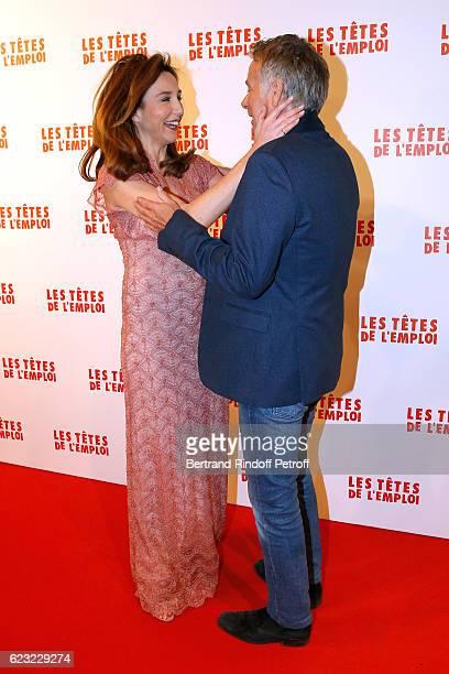 Actors of the movie Elsa Zylberstein and Franck Dubosc attend 'Les Tetes de l''Emploi' Paris Premiere at Cinema Gaumont Opera Capucines on November...