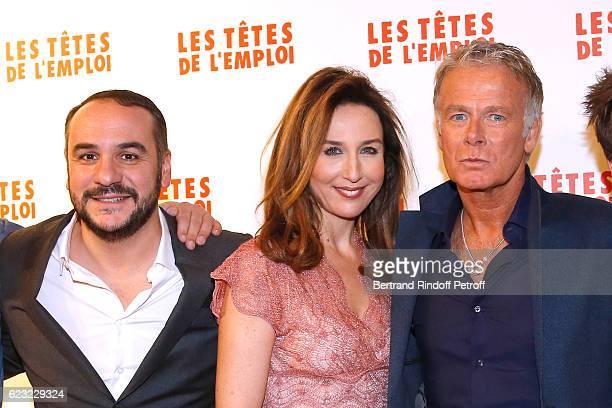 Actors of the movie FrancoisXavier Demaison Elsa Zylberstein and Franck Dubosc attend 'Les Tetes de l''Emploi' Paris Premiere at Cinema Gaumont Opera...