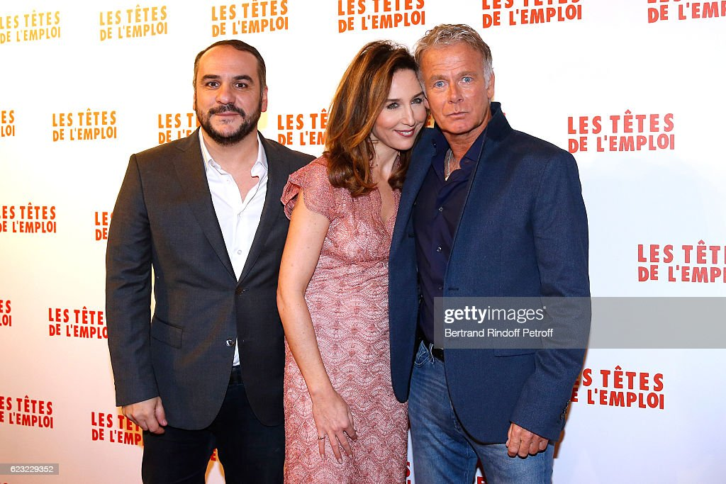 Actors of the movie, Francois-Xavier Demaison, Elsa Zylberstein and Franck Dubosc attend 'Les Tetes de l''Emploi' Paris Premiere at Cinema Gaumont Opera Capucines on November 14, 2016 in Paris, France.