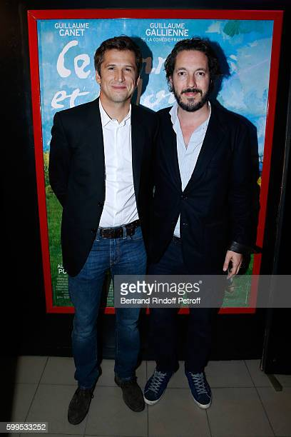 Actors of the movie Guillaume Canet and Guillaume Gallienne attend the 'Cezanne et Moi' Premiere on September 5 2016 in Paris France