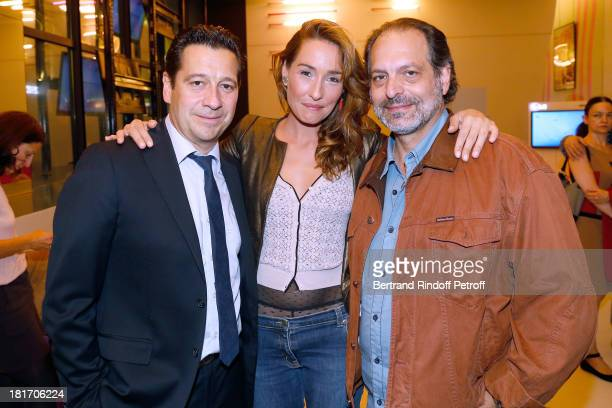 Actors of the movie Laurent Gerra and Annelise Hesme with director of the movie Denis Malleval attend 'L'Escalier De Fer' with Laurent Gerra Private...