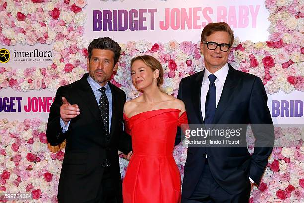 Actors of the movie Patrick Dempsey Renee Zellweger and Colin Firth attend the 'Bridget Jones Baby' Paris Premiere Held at Cinema Le Grand Rex on...