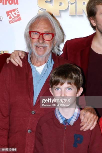 Actors of the movie Pierre Richard and 'Le Petit Spirou' Sacha Pinault attend the 'Le Petit Spirou' Paris Premiere at Le Grand Rex on September 10...