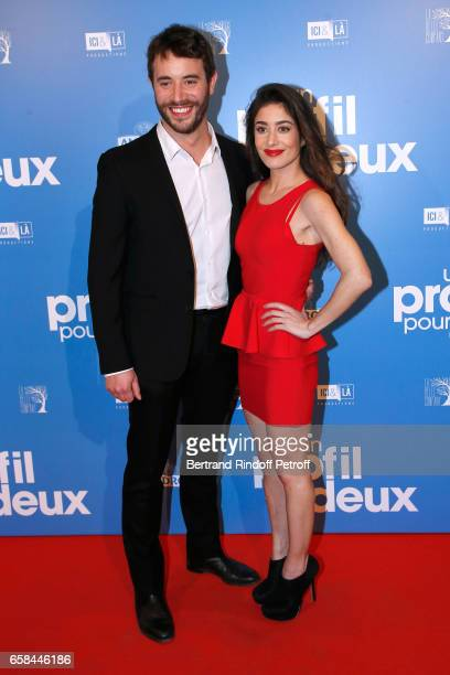 Actors of the movie Yaniss Lespert and Fanny Valette attend the 'Un profil pour deux' Paris Premiere at Cinema UGC Normandie on March 27 2017 in...