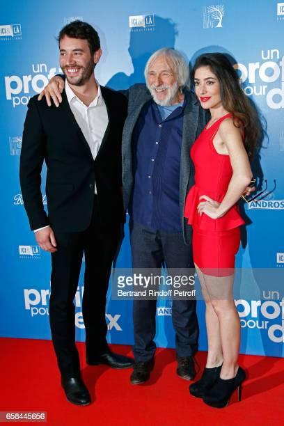 Actors of the movie Yaniss Lespert Pierre Richard and Fanny Valette attend the 'Un profil pour deux' Paris Premiere at Cinema UGC Normandie on March...