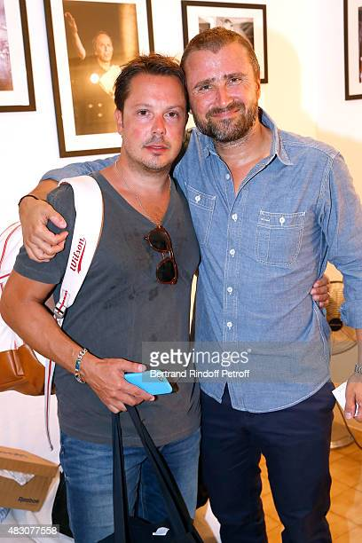 Actors of the Piece Alexandre Brasseur and Davy Sardou pose Backstage after the 'Georges and Georges' Theater play during the 31th Ramatuelle...